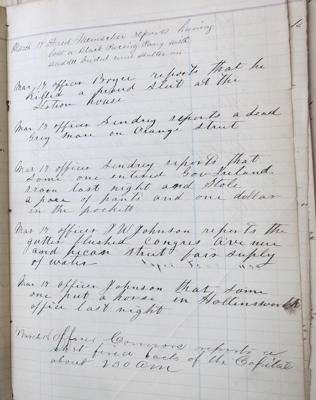 Police Calls MAR 17 1885